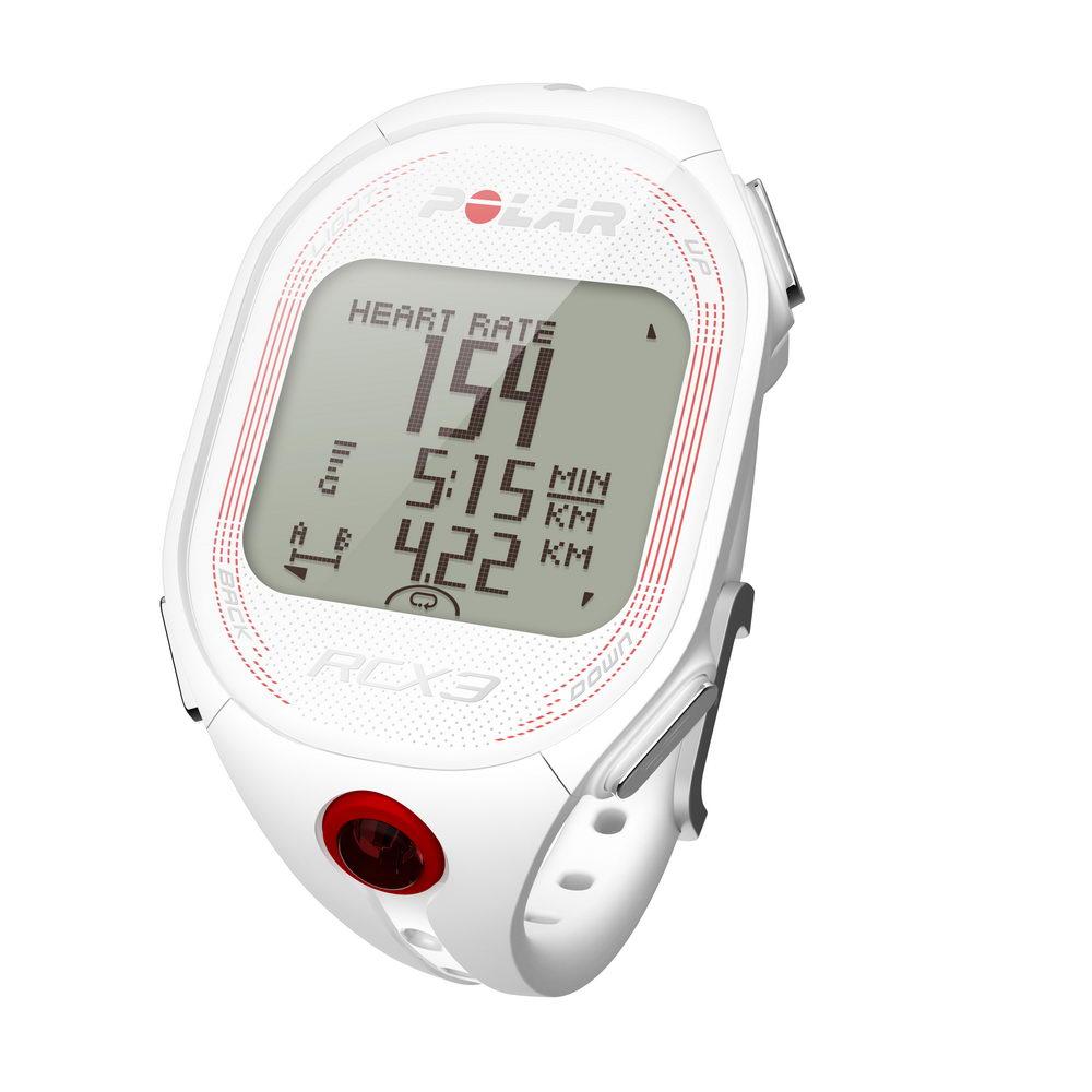 La montre Polar RCX3 avec ses trois lignes de données dont la fréquence cardiaque