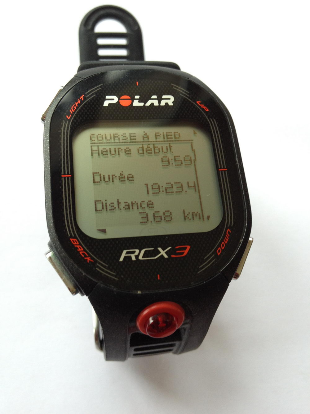 Montre Polar RCX3 affichant distance mesurée