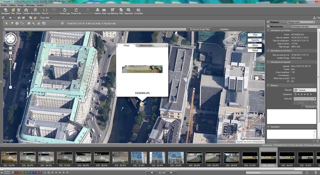 Visualisation d'une photo prise par le Nikon Coolpix AW110 dans le logiciel Nikon ViewNX2