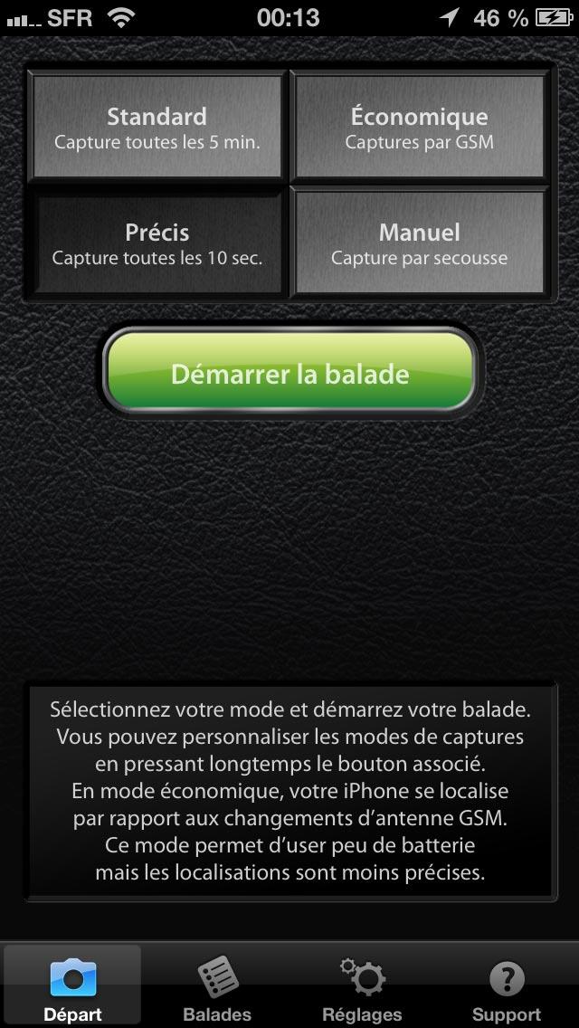 Application gps4cam Pro : écran de démarrage avec choix de la fréquence d'enregistrement.