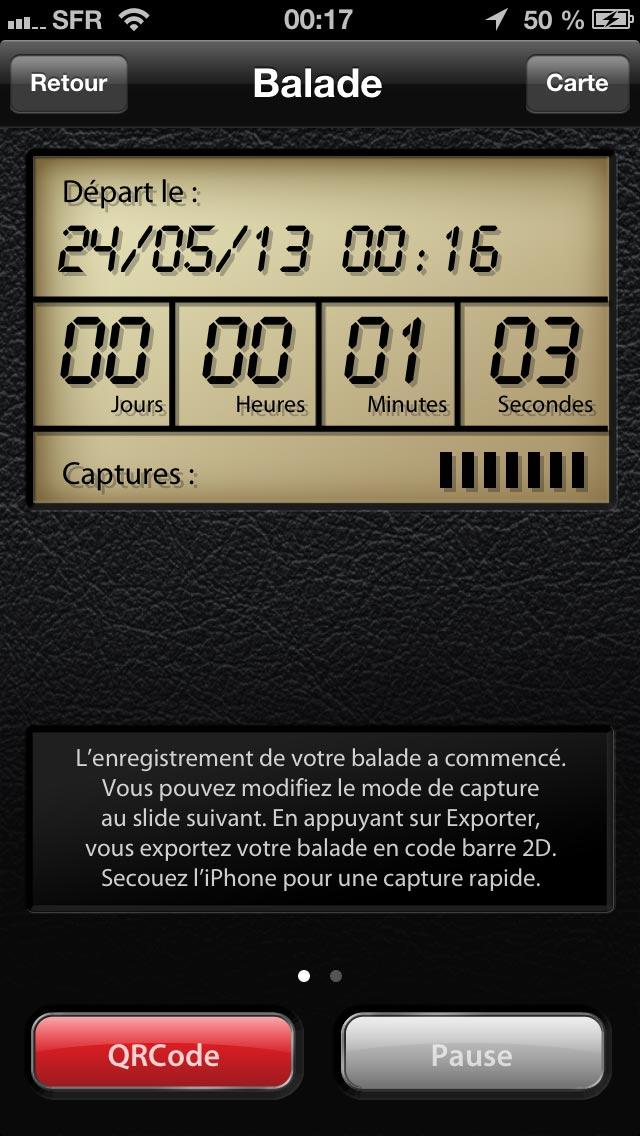 Application gps4cam Pro : pendant l'enregistrement du parcours.