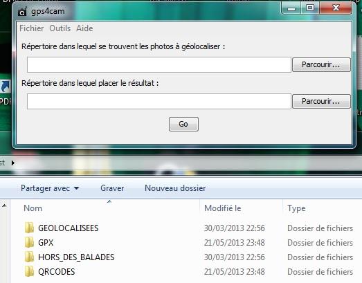 Logiciel gps4cam Pro : demande du choix des répertoires des photos à taguer et affichage des dossiers de destination.