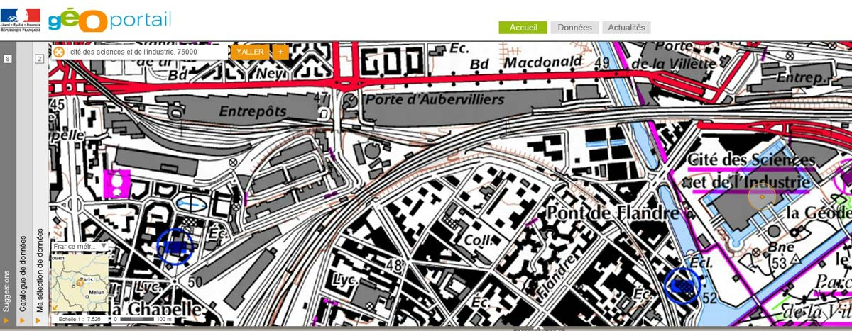 Carte de l'IGN indiquant les altitudes près de la Cité des Sciences à Paris.