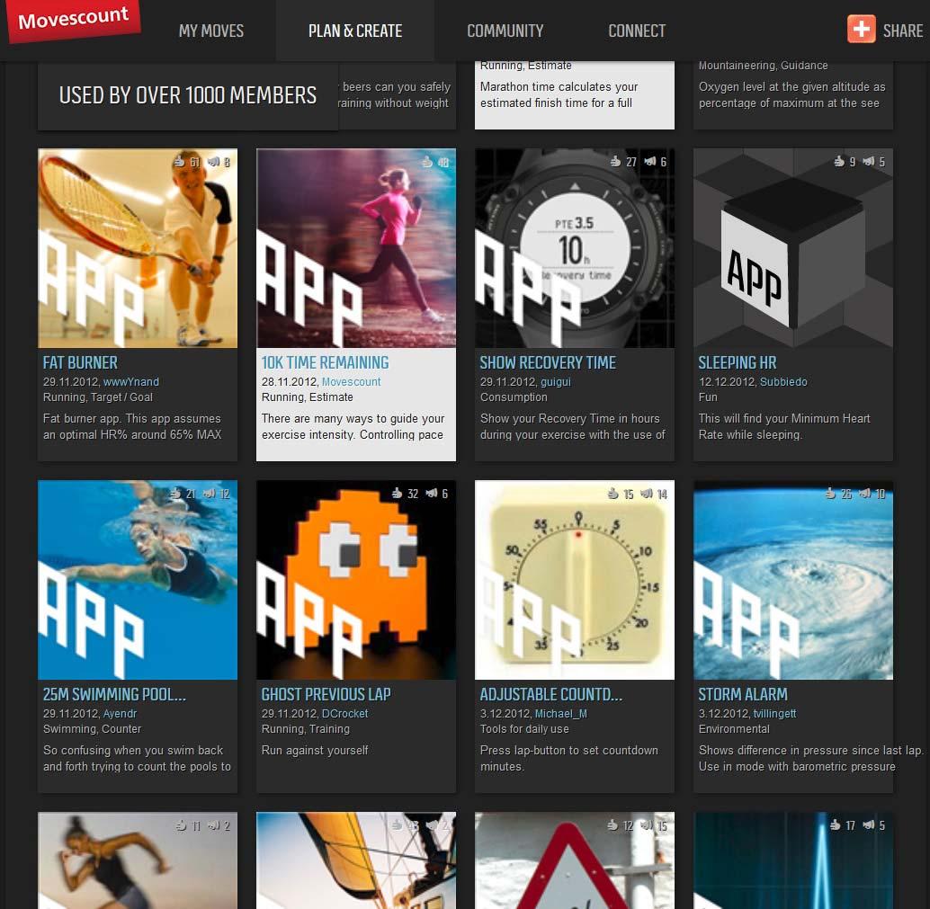 Aperçu d'une partie des applis disponibles sur movescount.com