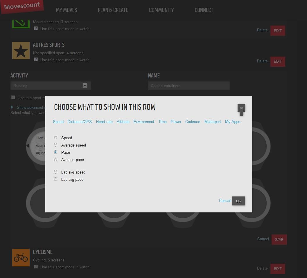 Personnalisation de l'affichage de la montre Suunto Ambit2