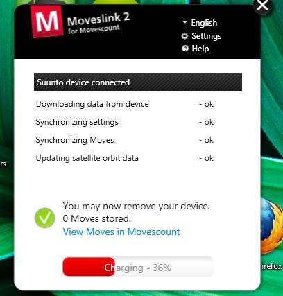 Logiciel Moveslink for MovesCount à la fin de la synchronisation de la montre avec le site movescount.com