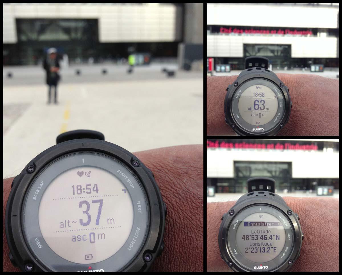 Variation de l'indication de l'altitude affichée par la montre GPS Suunto Ambit2, à quelques mètres de la Cité des Sciences à Paris.