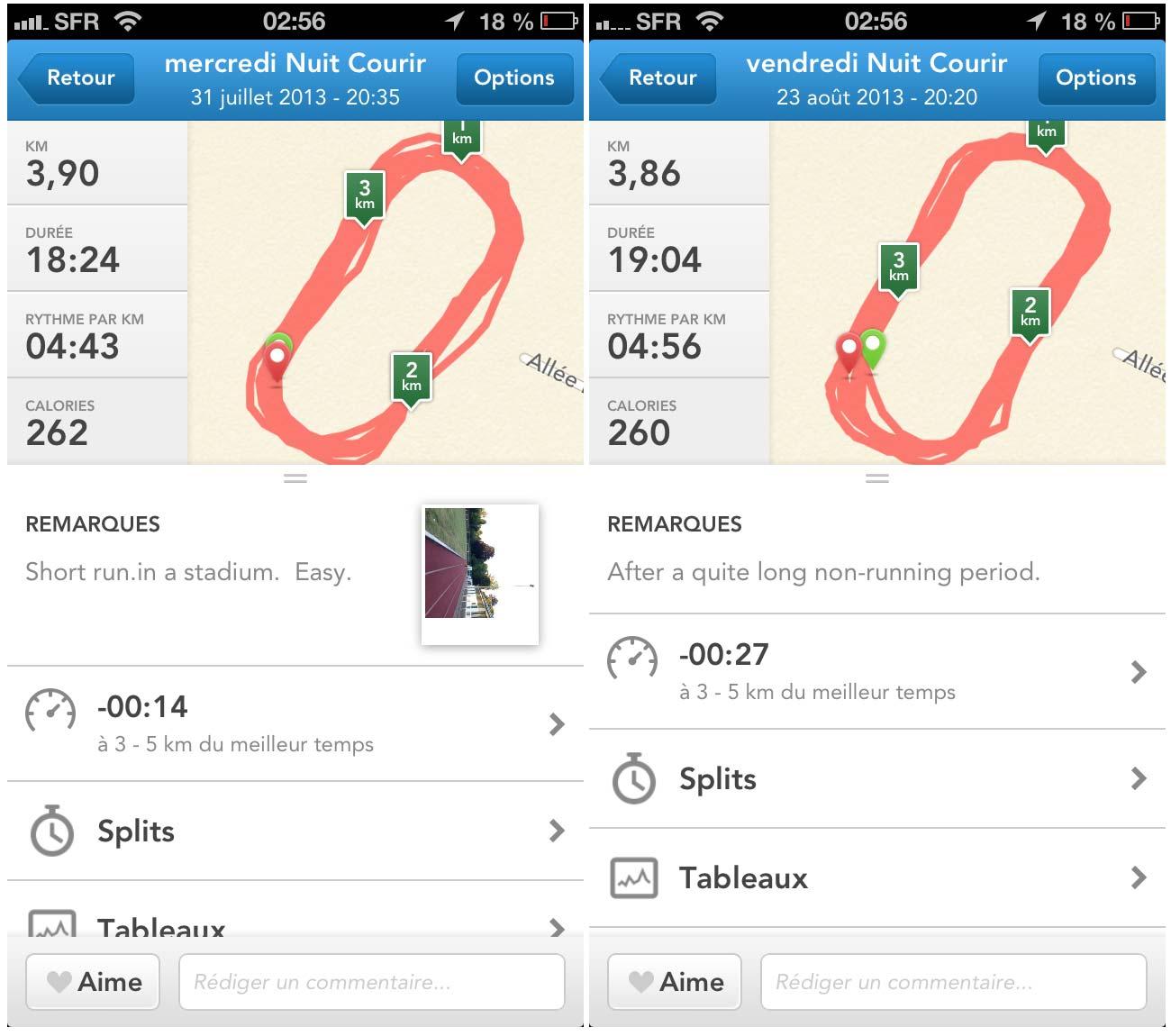 Valeurs de distance enregistrées par l'appli RunKeeper en même temps que la montre GPS Suunto Ambit2 lors du parcours effectif de 4 km.