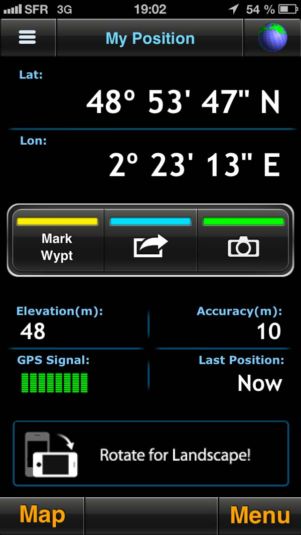 Altitude relevée par l'appli iOS Motion-X GPS au même endroit et même lieu que la Suunto Ambit2.