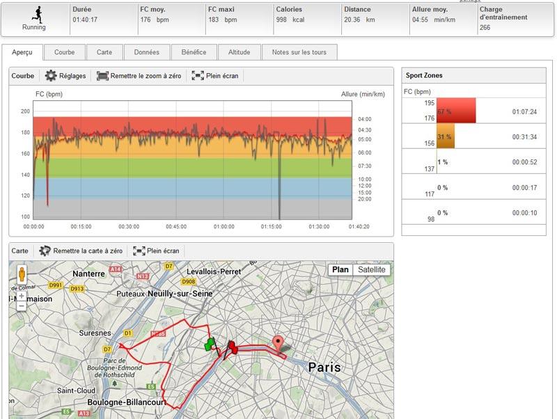Les paramètres et le tracé de ma course du 20 km de Paris représentés sur le site polarpersonaltrainer.com.