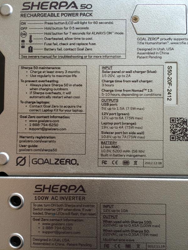 Caractéristiques électriques du rechargeur Goal Zero Sherpa 50. Ph. Moctar KANE.