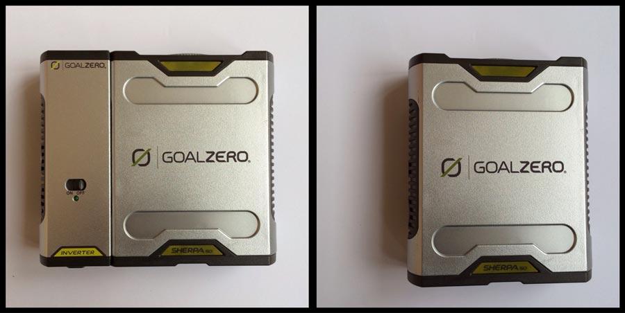 Le rechargeur Goal Zero Sherpa 50, avec ou sans l'onduleur. Ph. Moctar KANE.