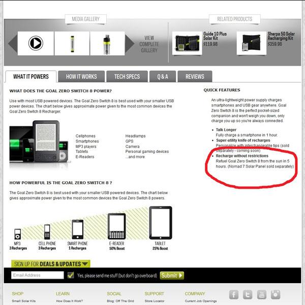 Une page du site de Goal Zero où est mentionnée la durée de recharge du Switch 8 par le panneau solaire Nomad 7.