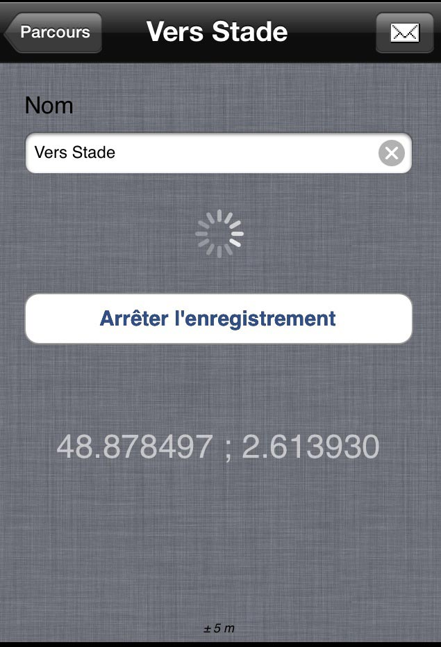 L'appli iOS FollowMe d'enregistrement de tracés GPS.