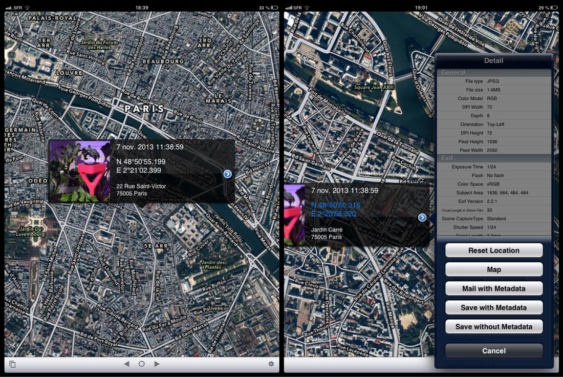 L'appli Koredoko : changement des coordonnées GPS de l'image en la déplaçant sur la carte.