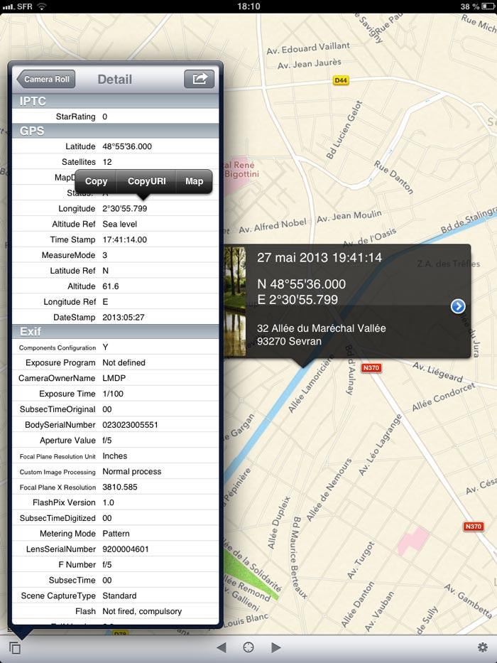 L'appli Koredoko : affichage des données EXIF et menu pour copier entre autres le lien pour Google Maps.