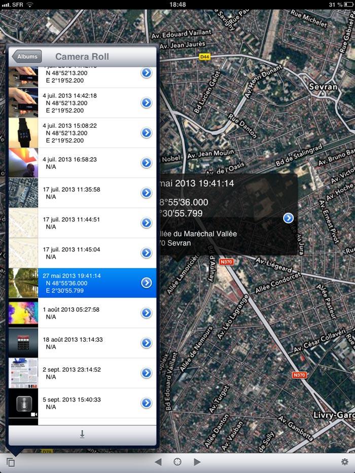 L'appli Koredoko : choix de l'image dans l'album à afficher sur la carte.
