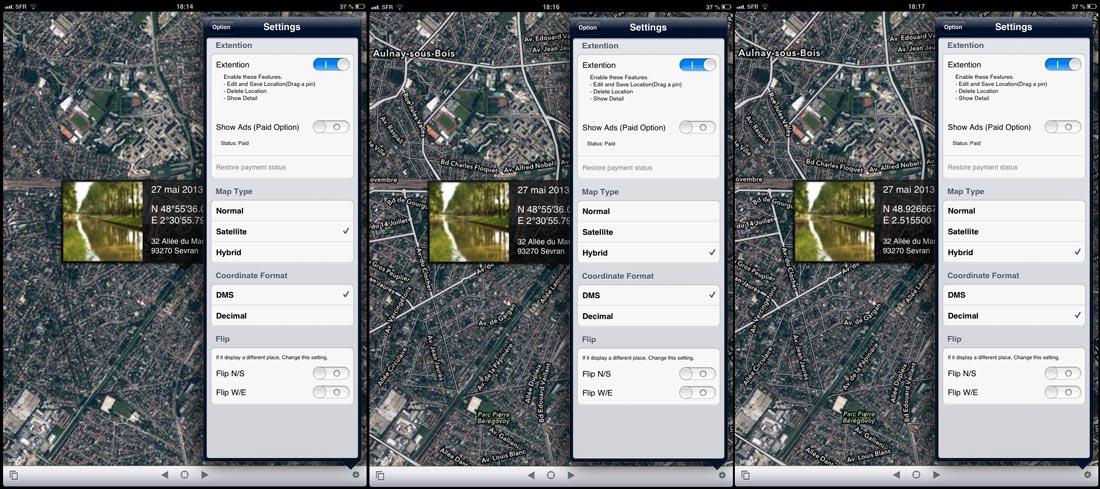 L'appli Koredoko : choix de l'affichage de la carte en mode satellite, hybride et du format des coordonnées GPS.