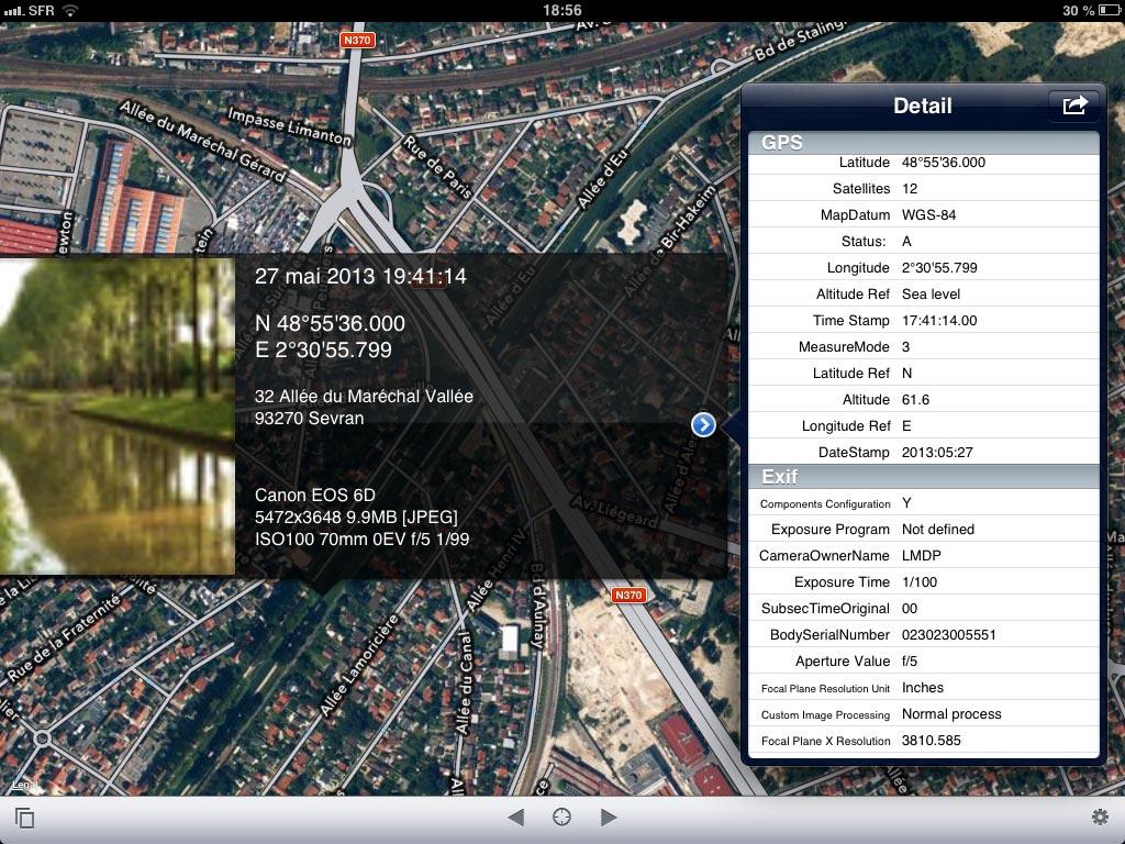 L'appli Koredoko : une appli qui visualise le lieu de prise de vue et les données EXIF d'une image.