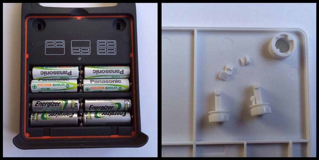 L'Energizer Led Folding Lantern, avec le compartiment piles et les vis en plastique. Ph. Moctar KANE.