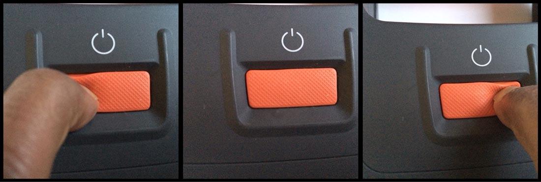 L'Energizer Led Folding Lantern avec son bouton arrière, actif qu'au milieu. Ph. Moctar KANE.