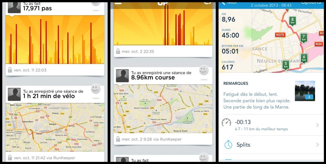 Deux activités, enregistrées par RunKeeper et affichées dans l'appli Jawbone UP. Et la seconde affichée dans la première appli.