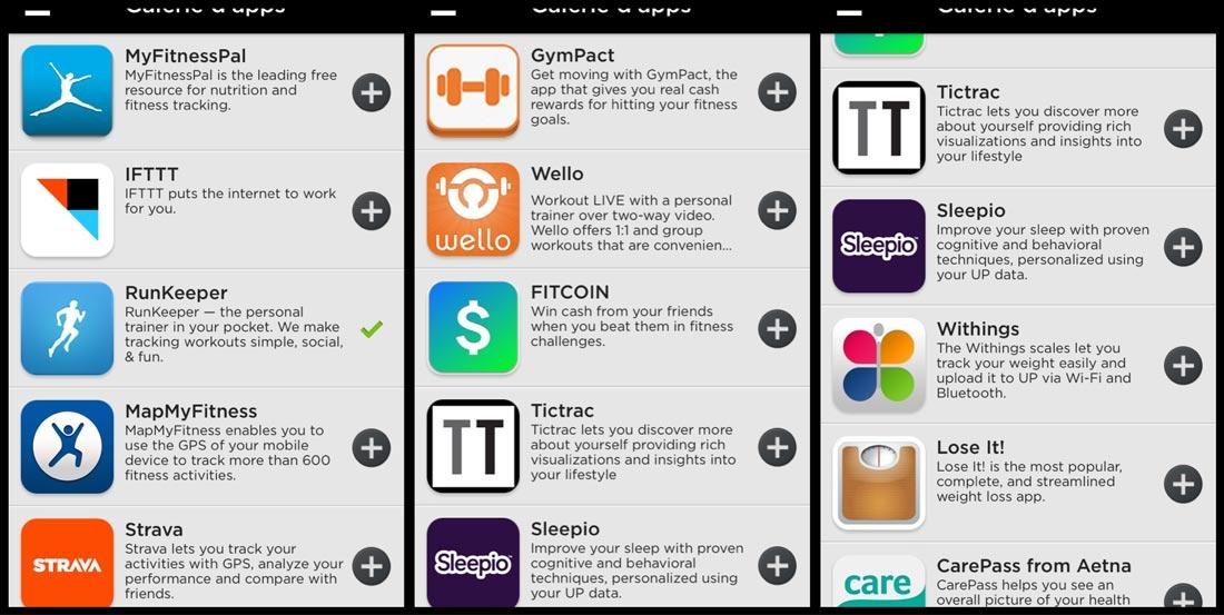 Applications sport et bien-être pouvant être associées à l'appli Jawbone UP.