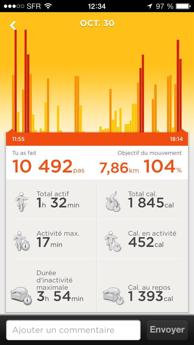 Affichage de l'activité de la journée dans l'appli Jawbone UP.