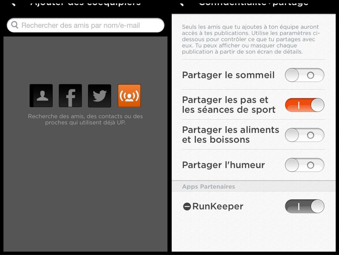 Paramétrages du mode partage des activités dans l'appli de Jawbone UP.