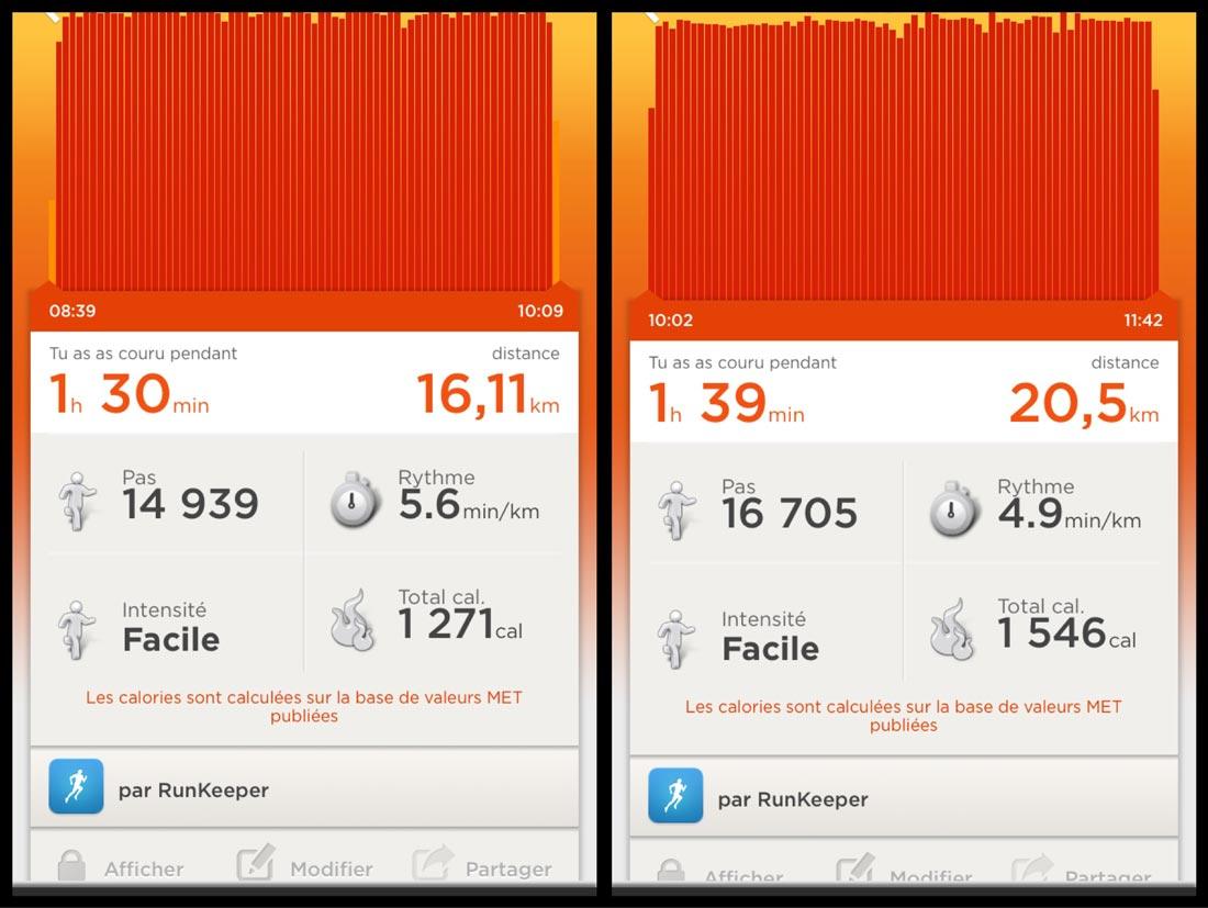 Affichage dans l'appli Jawbone UP de deux courses à pied enregistrées par l'appli RunKeeper : la carte, ici, est absente.