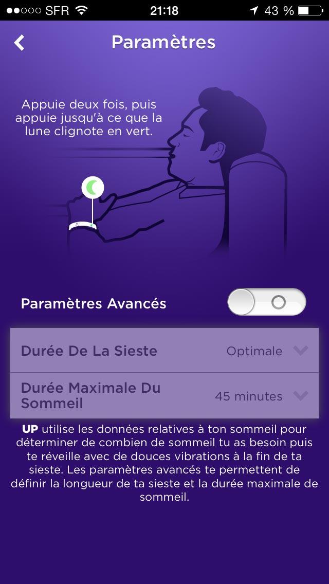"""Paramétrage dans l'appli Jawbone UP du mode """"sieste récupératrice""""."""