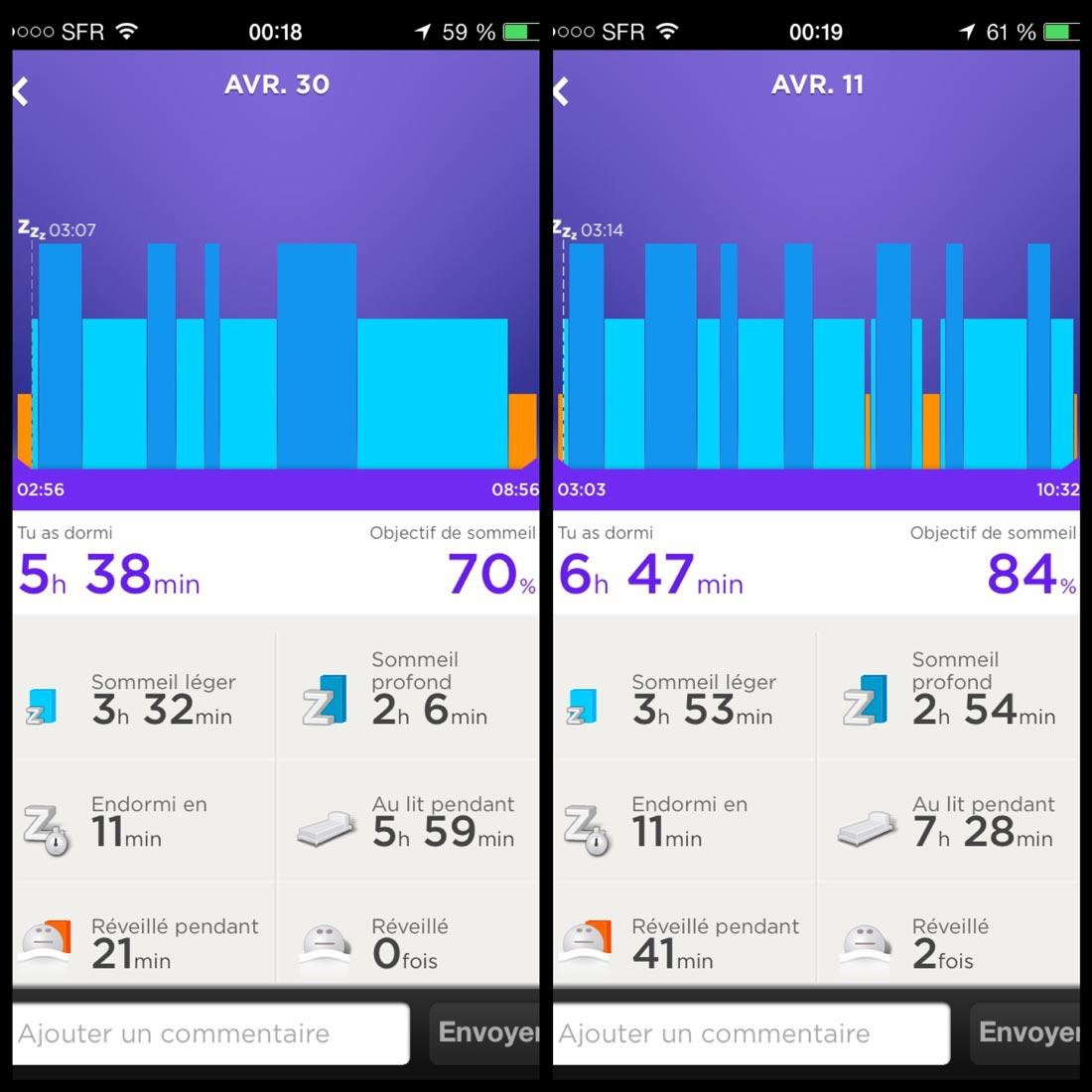 Affichage des données de deux nuits de sommeil dans l'appli Jawbone UP.