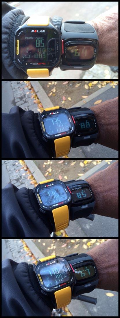 Fréquences cardiaques mesurées par la Mio Alpha et la Polar RC3 GPS juste après avoir fait du vélo. Ph. Moctar KANE.