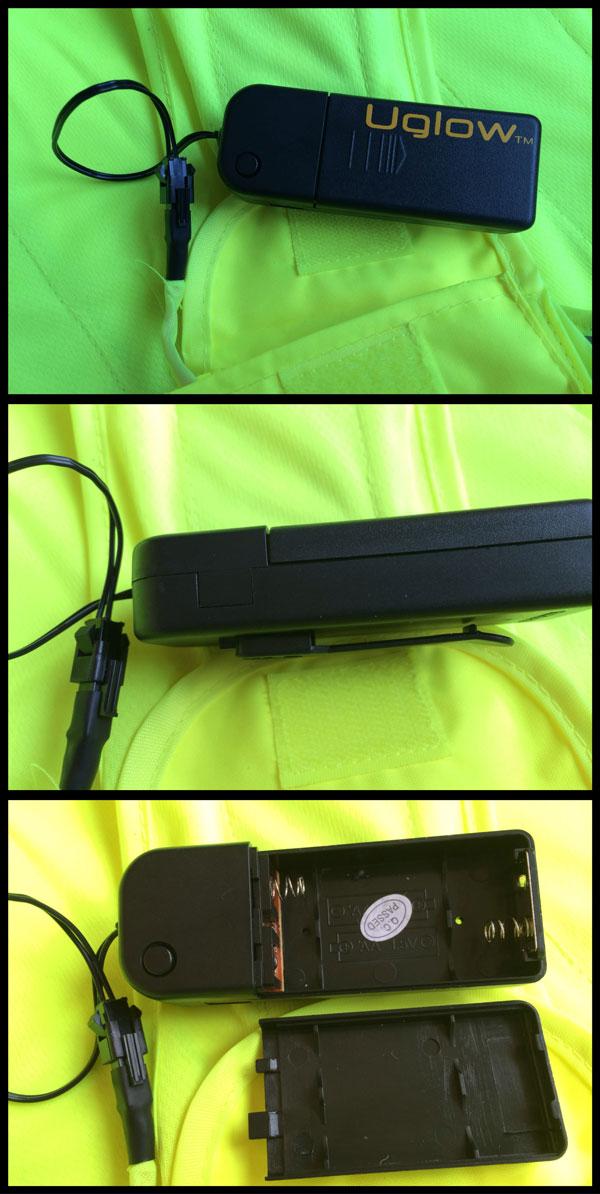 Gilet de signalisation électroluminescent Uglow U-Road et son boîtier plastique pour les piles, Ph. Moctar KANE.