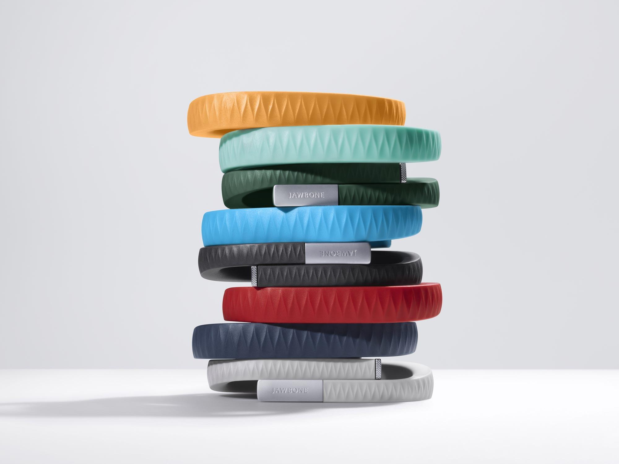 Bracelets Jawbone UP dans ses différentes versions de couleur.