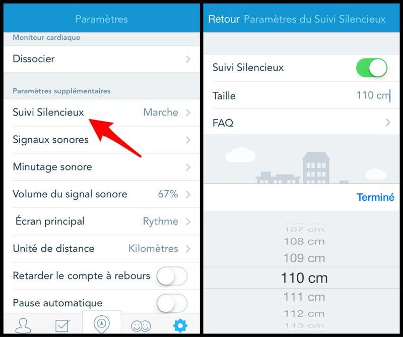L'appli RunKeeper : activation du mode suivi silencieux.