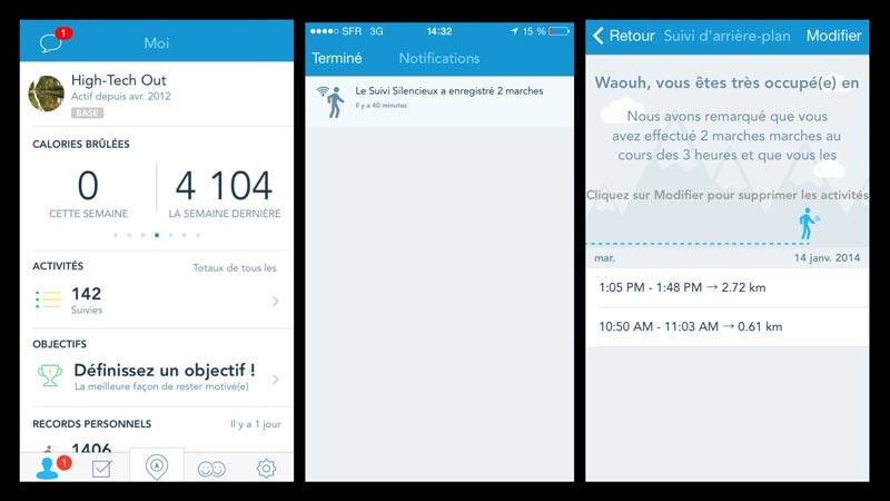 L'appli RunKeeper : notification de l'enregistrement d'une session de marche en mode suivi silencieux.