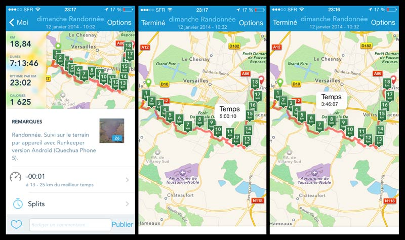 L'appli de sport RunKeeper : résumé d'une activité et tracé sur la carte.