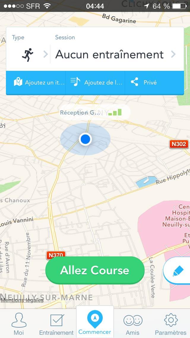L'appli de sport RunKeeper : écran de démarrage.