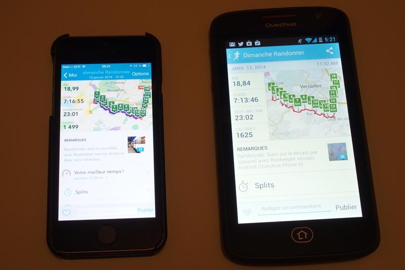 L'appli de sport RunKeeper : affichage de la distance parcourue sur iPhone 5S et sur le Quechua Phone 5iOS. Ph. Moctar KANE.