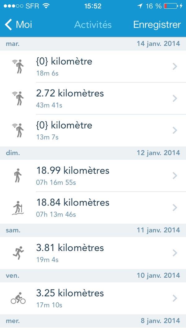 L'appli de sport RunKeeper : affichage des périodes de marche en mode suivi silencieux et des autres activités.