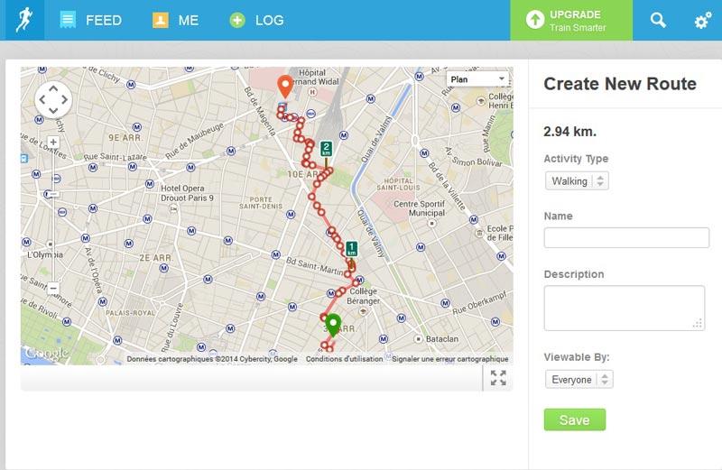 L'appli de sport RunKeeper : création d'un tracé à suivre ultérieurement.