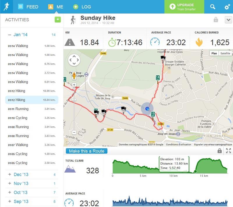 Le site Web de l'appli RunKeeper : liste des activités et représentation d'un tracé sur une carte.