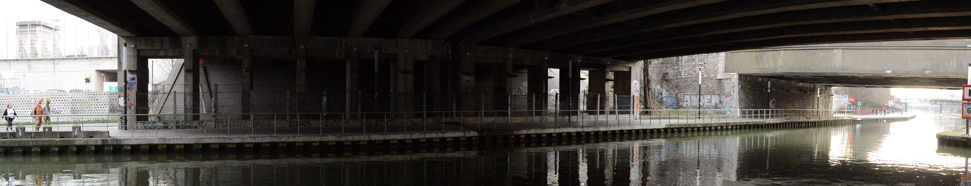 Photo panoramique prise avec le Nikon 1 AW1 : Canal de l'Ourcq, Paris 01 2014. Ph. Moctar KANE.