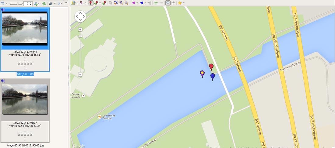 Localisations GPS de photos prises au même endroit (marqueur rouge) par le Nikon 1 AW1 (marqueur violet et jaune) et l'iPhone 5S (marqueur bleu).