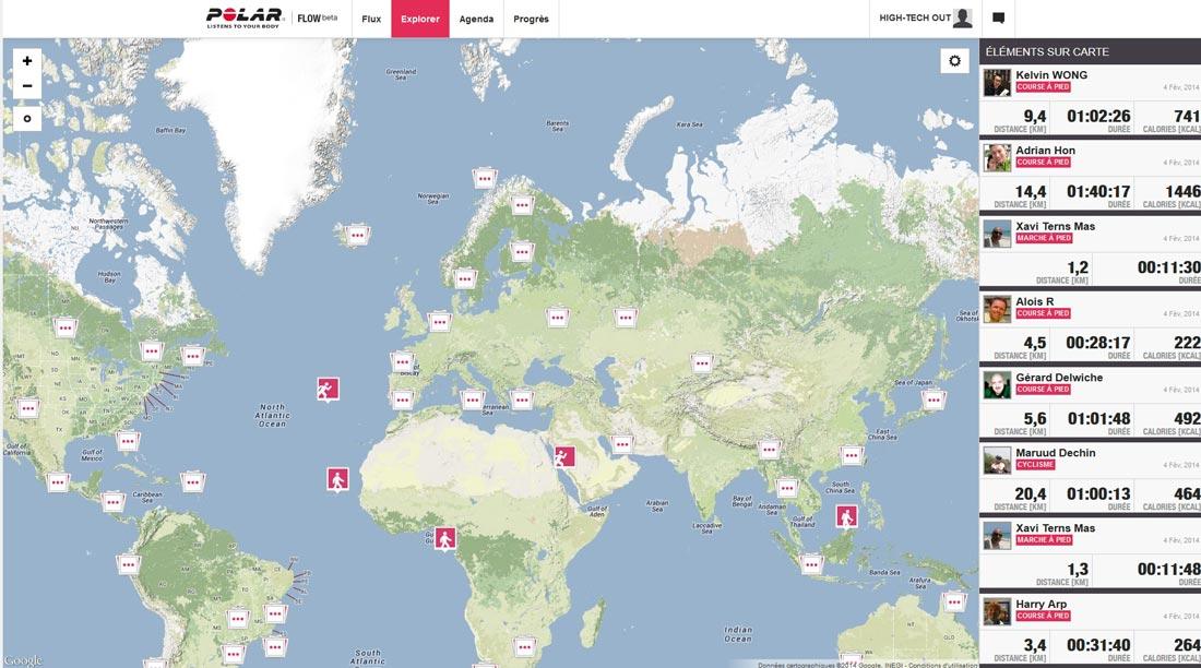 Site Polar Flow associé au bracelet Polar Loop : page Explorer.