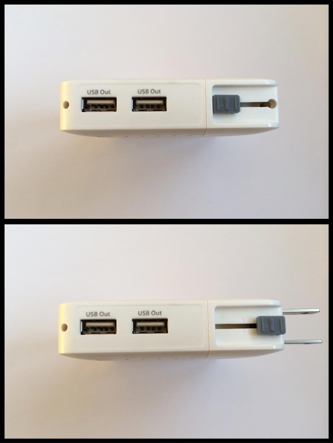 Le rechargeur HyperJuice Plug P10, ses prises USB et sa prise de courant intégrée. Ph. Moctar KANE.