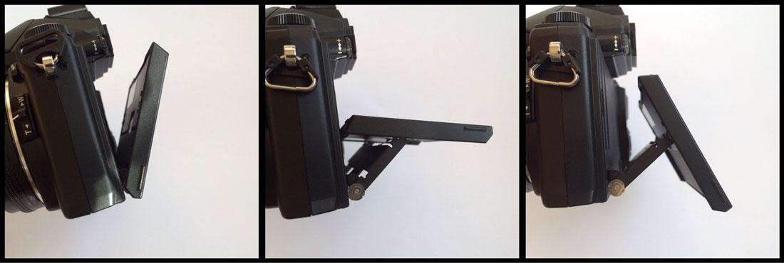 Test Olympus Stylus 1 : écran inclinable selon un axe horizontal. Ph. Moctar KANE.