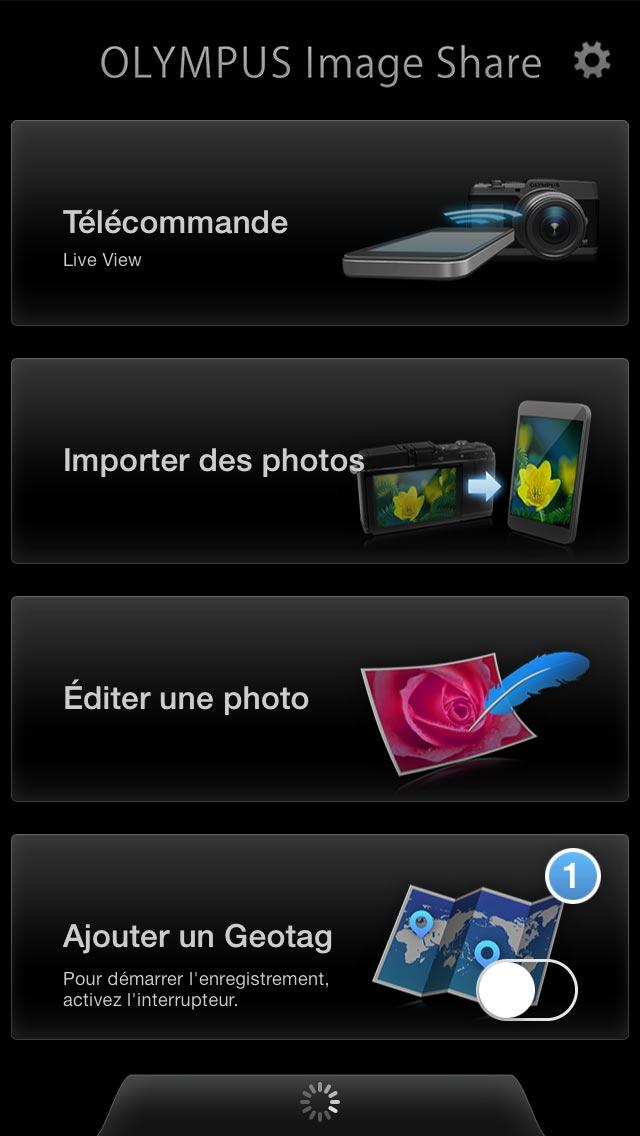 Capture de l'écran d'accueil de l'appli OI. Share pilotant l'Olympus Stylus 1.