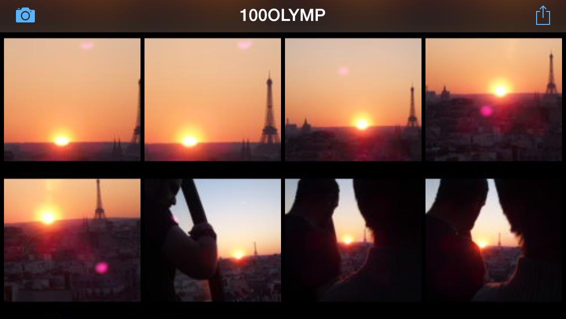 Capture d'écran de l'appli OI. Share d'où sont visibles les photos de l'Olympus Stylus 1.